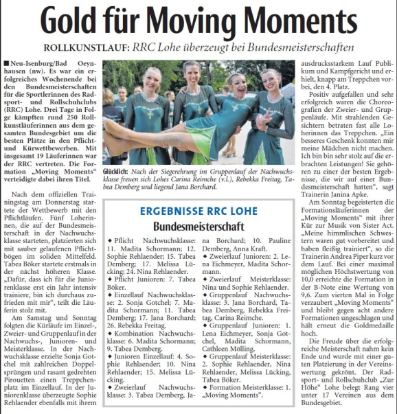Gold für Moving Moments 1
